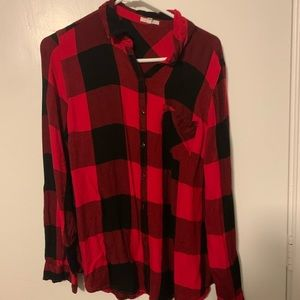 Maurices Red Flannel size L